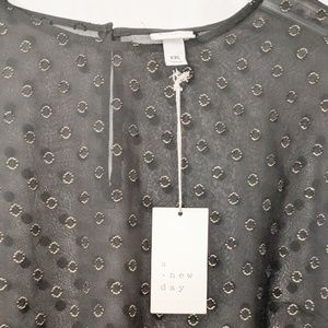 a new day Tops - A New Day Sheer shirt with gold circles Sz XXL NWT